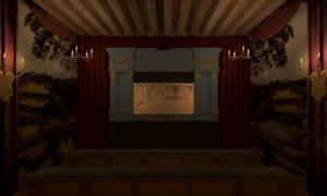 Restitution de l'intérieur d'un théâtre de marionnettes d'après une miniature de L.-N. Van Blarenberghe.