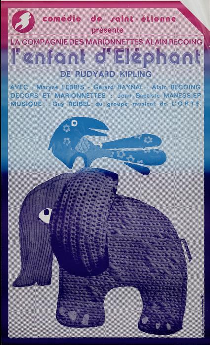 L'enfant d'éléphant, par les Marionnettes d'Alain Recoing, affiche de spectacle.