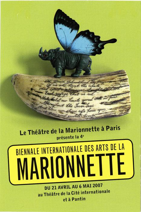 Carte postale d'annonce de la 4e Biennale Internationale des Arts de la Marionnette (2007), par le Théâtre de la Marionnette à Paris