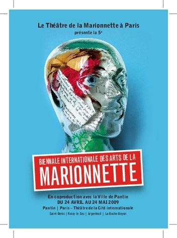 Carte postale n°2 de la 5e Biennale Internationale des Arts de la Marionnette (2009), par le Théâtre de la Marionnette à Paris.