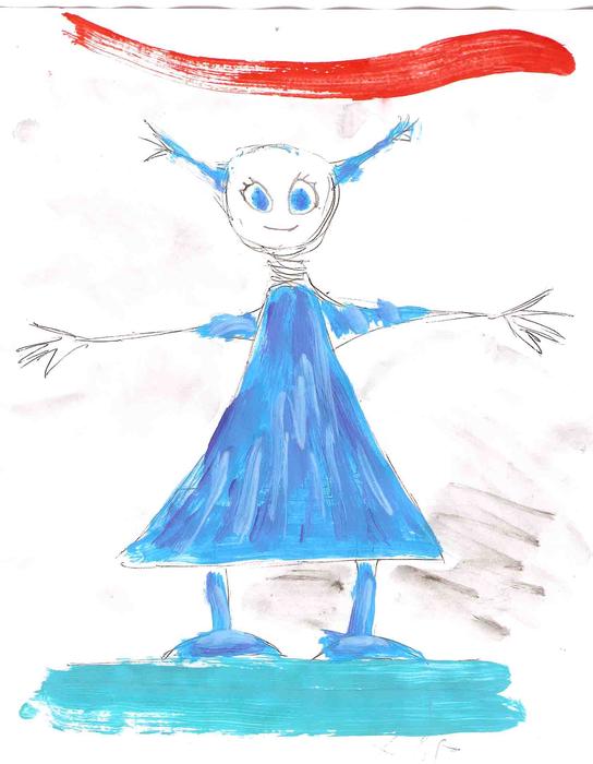 Léon, Li, Louis, croquis des marionnettes, petite fille en bleu
