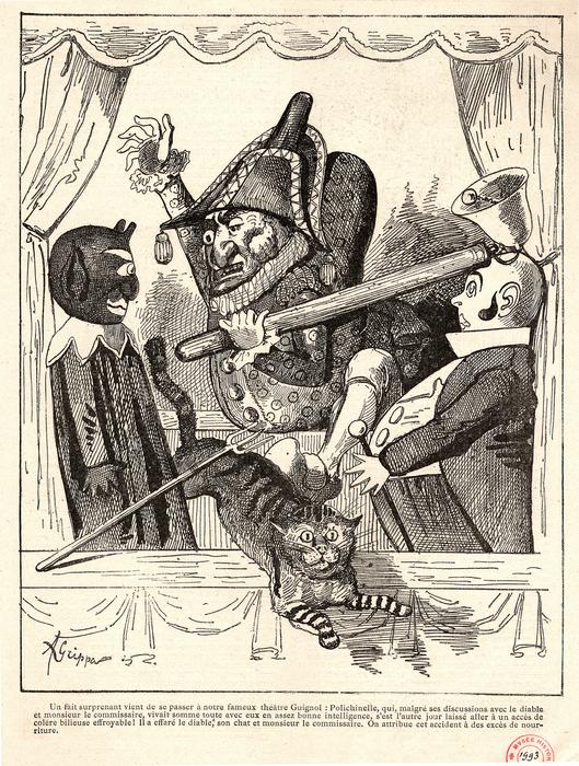 Polichinelle menacant un diable, un chat et un commissaire de police. Scène de théâtre de marionnettes.