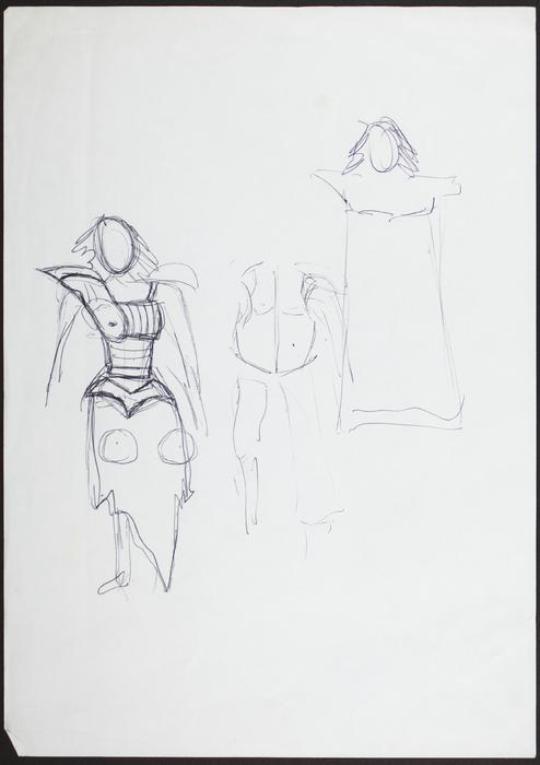 Le Jeu du roi. Croquis préparatoires pour costumes, Cordélia