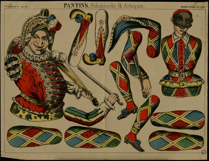 Pantins, polichinelle et arlequin : théâtre de papier