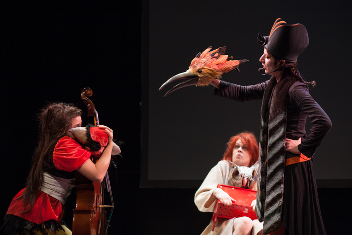La Conférence des Oiseaux, atelier-spectacle de fin de 2e année, dirigé par Jean-Louis Heckel, avec les élèves de la 9° promotion de l'ESNAM, photo de spectacle.