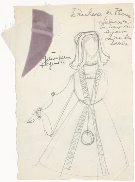 Maquette de costume pour la Duchesse de Parme de La Tragique Histoire et la Fin lamentable du docteur Johann Faust, par Les Marionnettes d'Alain Recoing (France)