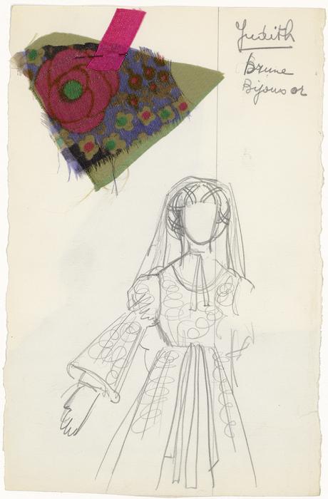 Maquette de costume pour Judith de La Tragique Histoire et la Fin lamentable du docteur Johann Faust, par Les Marionnettes d'Alain Recoing (France)