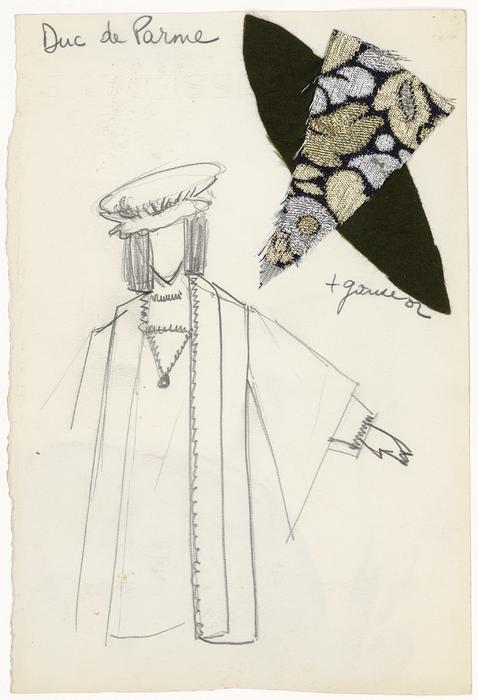 Maquette de costume pour Le Duc de Parme de La Tragique Histoire et la Fin lamentable du docteur Johann Faust, par Les Marionnettes d'Alain Recoing (France)