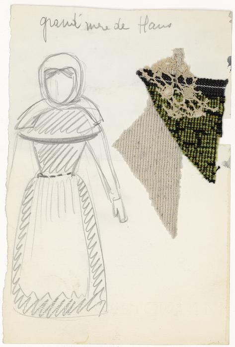 Maquette de costume pour La Grand-mère de Hans de La Tragique Histoire et la Fin lamentable du docteur Johann Faust, par Les Marionnettes d'Alain Recoing (France)
