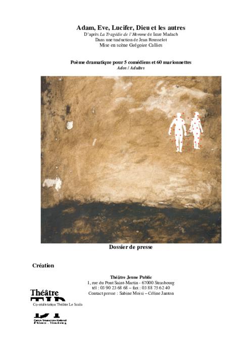 Dossier de presse d'Adam, Eve, Lucifer, Dieu et les autres