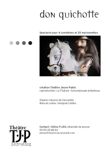 Dossier de presse TJP pour Don quichotte, spectacle pour 4 comédiens et 25 marionnettes