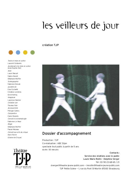 Dossier pédagogique TJP pour le spectacle Les Veilleurs de jour, de Laurent Contamin