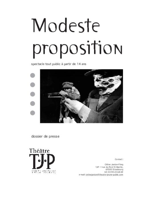 Dossier de presse TJP pour le spectacle Modeste proposition