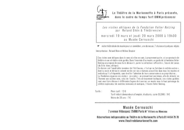 Les visites obliques par le Shön & Théâtrenciel, programme de salle réalisé par le Théâtre de la Marionnette à Paris