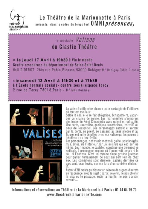 Valises par le CLASTIC THEATRE, programme de salle réalisé par le Théâtre de la Marionnette à Paris