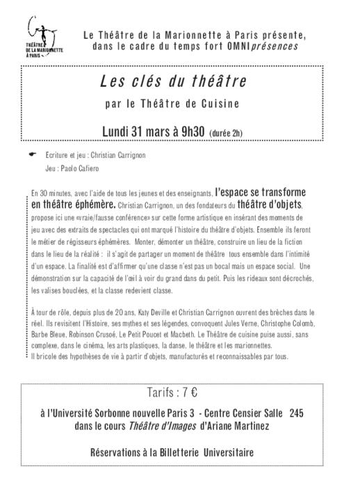 Les clés du Théâtre par le Théâtre de Cuisine, programme de salle réalisé par le Théâtre de la Marionnette à Paris