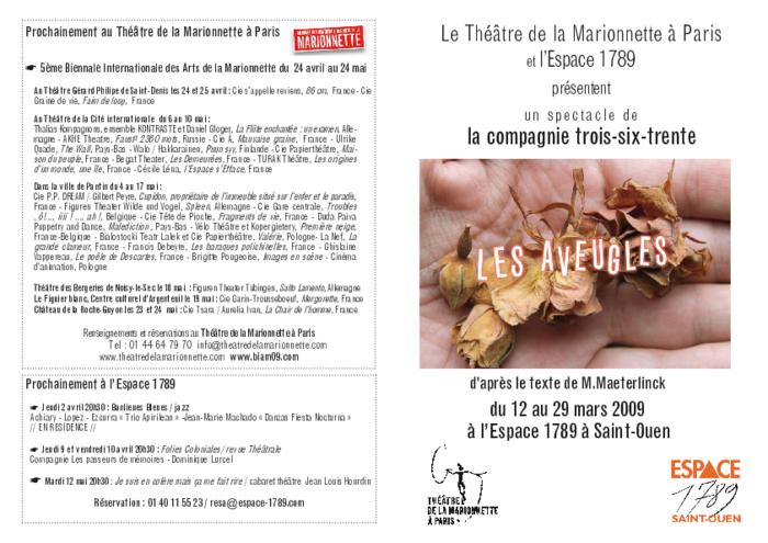 Les Aveugles, par la compagnie Trois-six-trente, programme du spectacle par le Théâtre de la Marionnette à Paris.