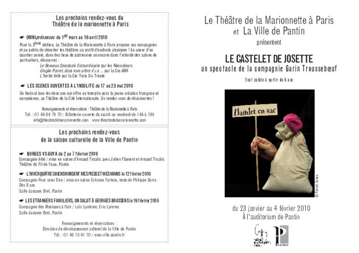 Le castelet de Josette par la compagnie Garin TROUSSEBOEUF, programme de salle réalisé par le Théâtre de la Marionnette à Paris