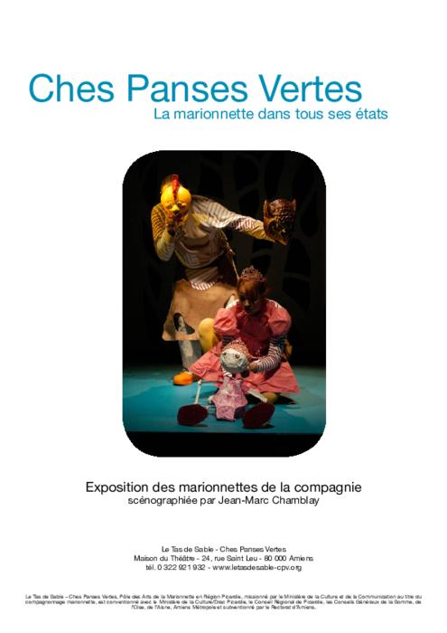 La marionnette dans tous ses états, dossier de présentation de l'exposition des marionnettes de la compagnie Ches Panses Vertes