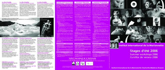 Stage d'été 2006, brochure de présentation