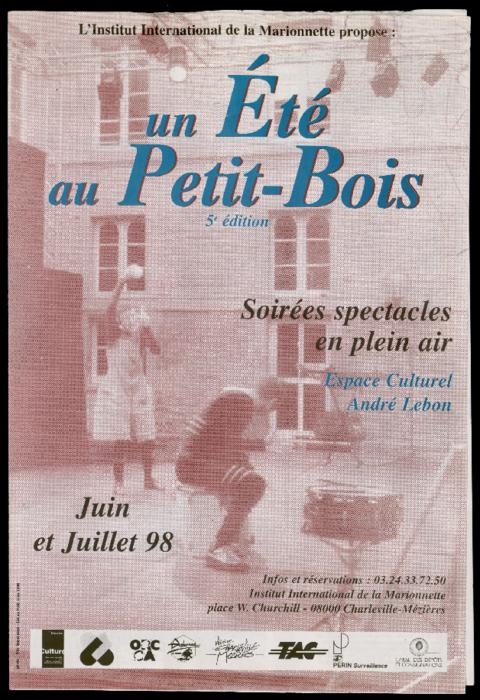 Programme du Festival Un été au Petit Bois proposé par l'Institut International de la Marionnette, 5e édition