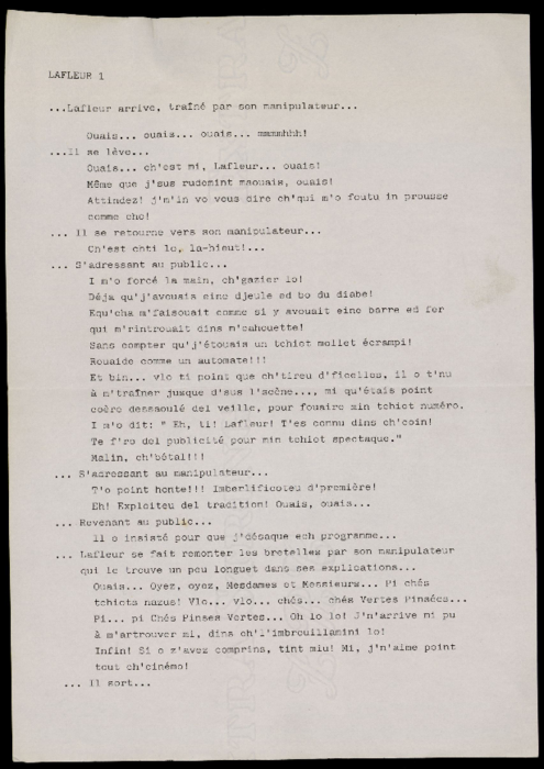 Vertes Pensées, par la compagnie Ches Panses Vertes, texte de spectacle.