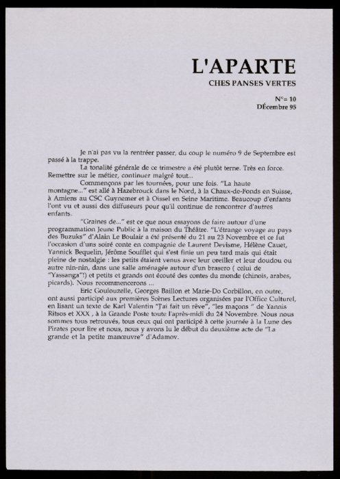 L'Aparté, L'Aparté, lettre d'information de Ches Panses Vertes, n°10, décembre 1995