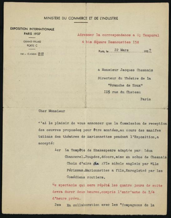 Lettre de Marcel Temporal à Jacques Chesnais.