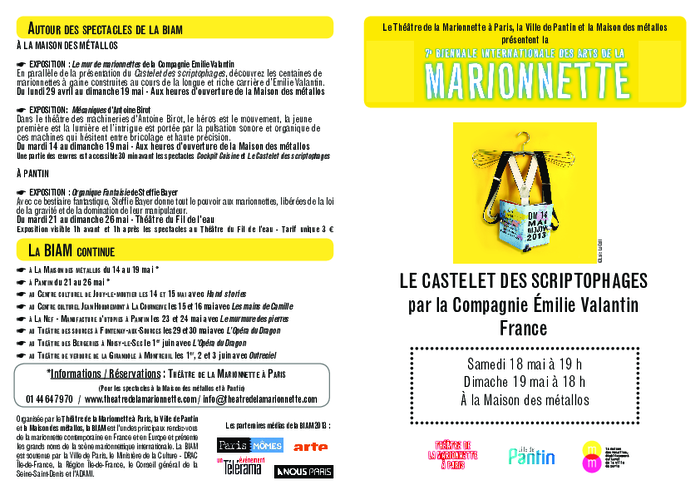 Le Castelet des scriptophages, par la compagnie Emilie Valantin. Programme de salle