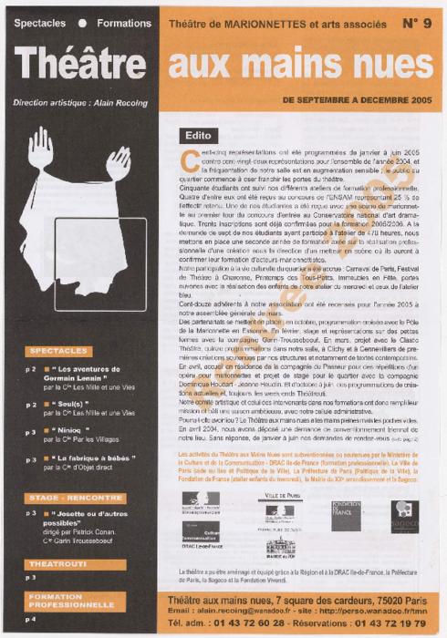 Programme trimestriel du Théâtre aux Mains Nues, n° 9, de septembre à décembre 2005