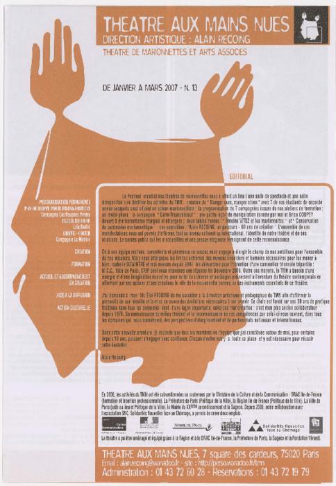 Programme trimestriel du Théâtre aux Mains Nues, n° 13, de janvier à mars 2007