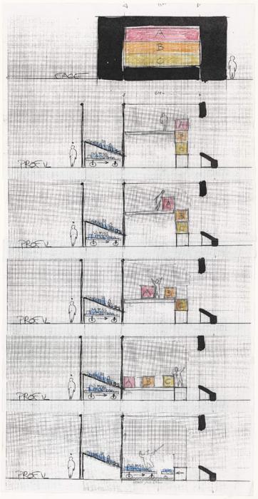 Plan de scénographie (schéma) pour le spectacle L'Illustre Fagotin, par le Théâtre Sans Toit