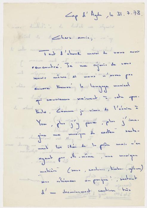 Lettre adressée à Claude et Colette Monestier concernant la musique du spectacle