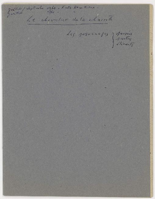 Cahier manuscrit de Claude Monestier pour la préparation du spectacle