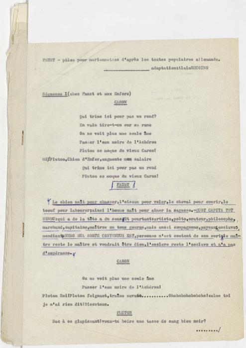 Faust, pièce pour marionnettes d'après les textes populaires allemands