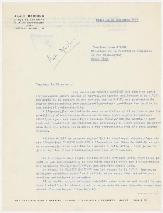 Lettre d'Alain Recoing à Monsieur Jean d'Arcy