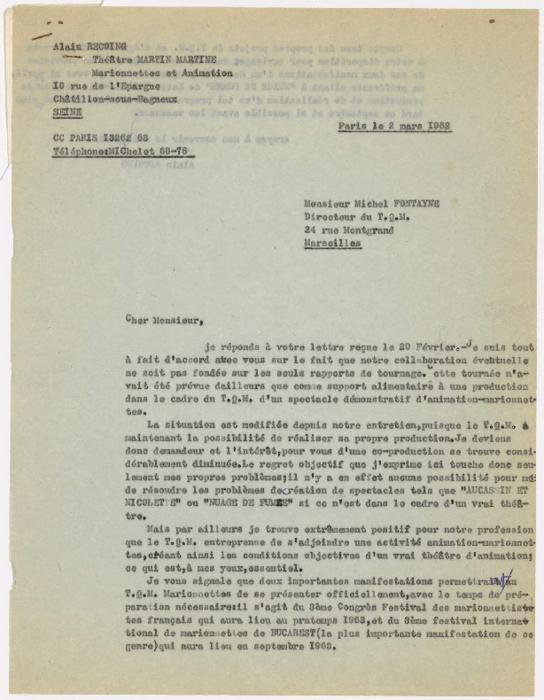 Correspondance entre Alain Recoing et le Théâtre Quotidien de Marseille (TQM)