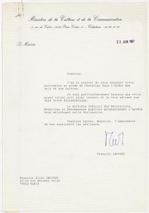 Lettres pour la nomination d'Alain Recoing au grade de Chevalier dans l'Ordre des Arts et des Lettres