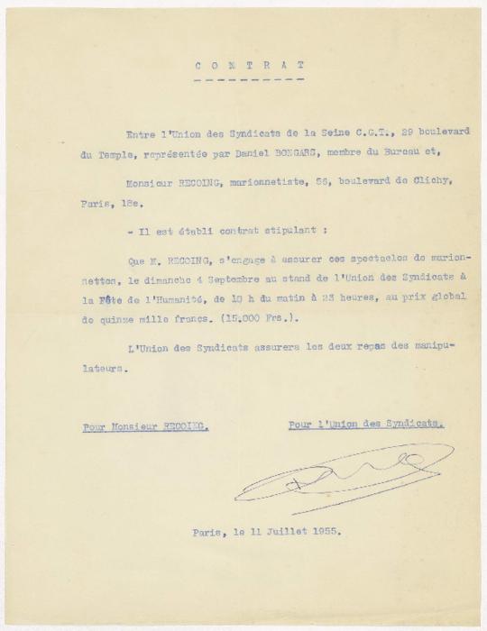 Contrat entre L'Union des Syndicats de la Seine C.G.T. et Alain Recoing