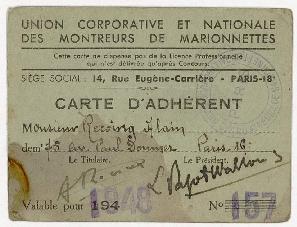 Carte d'adhérent d'Alain Recoing à l'Union Corporative et nationale des montreurs de marionnettes