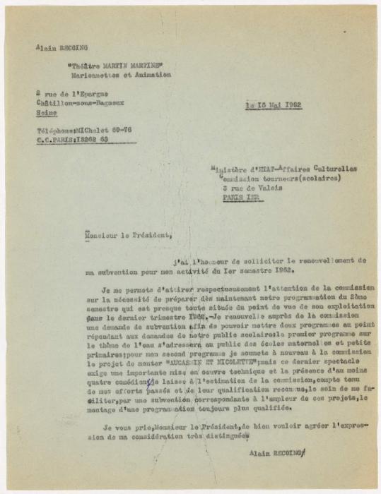 Lettre d'Alain Recoing au Ministère d'Etat-Affaires Culturelles