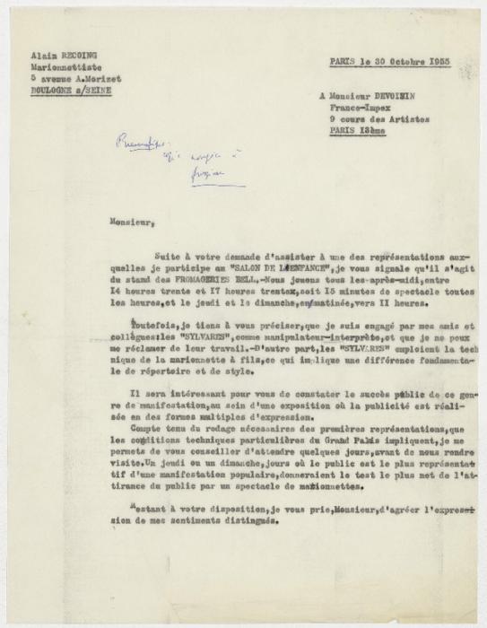 Lettre d'Alain Recoing à Monsieur Devoisin