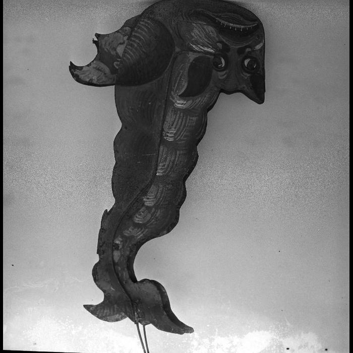 """Chimère représentant satan pour la scène de l'""""Apothéose de saint Antoine"""", théâtre forain de Monsieur et Madame Dulaar, marionnette à transformations."""