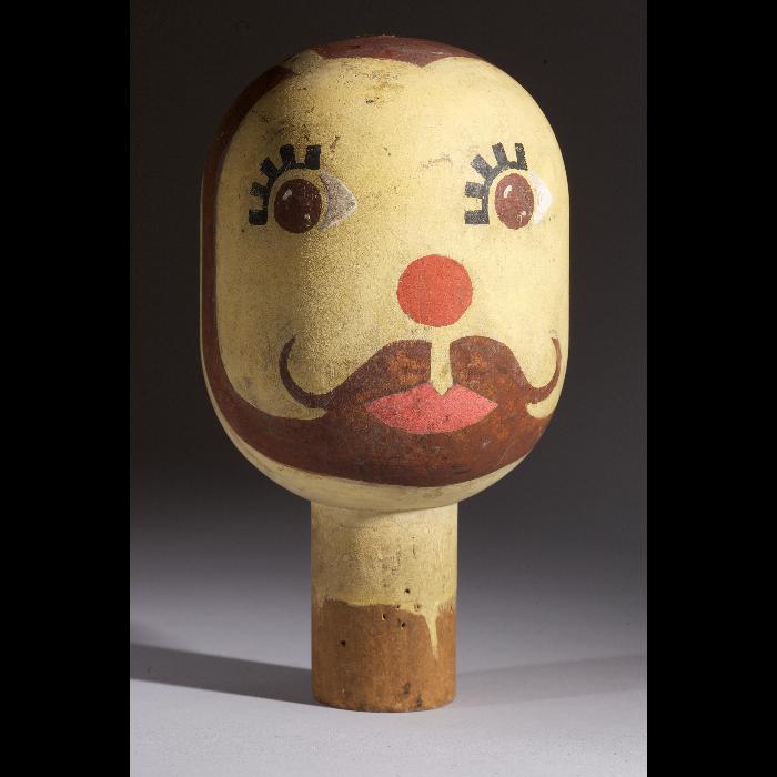 Tête jaune, tête de marionnette à gaine du Théâtre de la Branche de houx