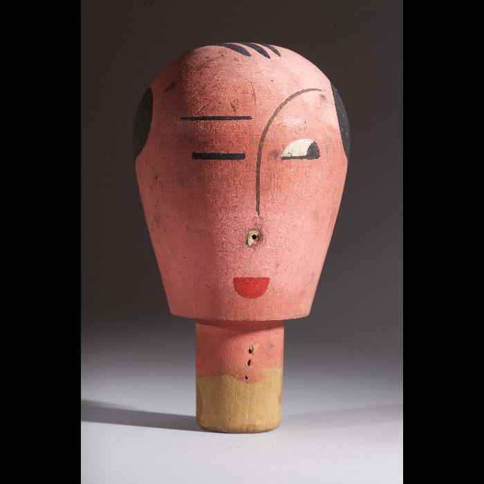 Tête rouge, tête de marionnette à gaine du Théâtre de la Branche de houx