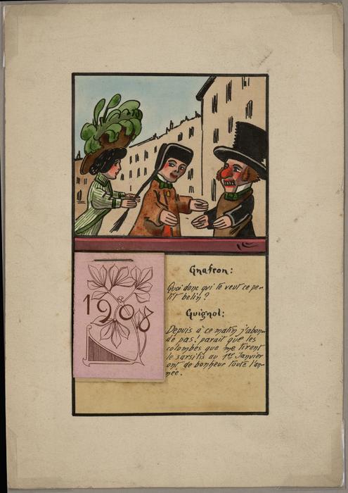 Calendrier 1908 avec Guignol et Gnafron