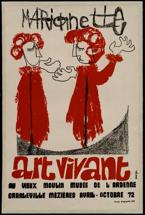 Marionnette Art Vivant, affiche de l'exposition au Vieux Moulin, Musée de l'Ardenne.