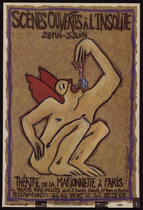 1e édition des Scènes ouvertes à l'insolite (1995), par le Théâtre de la Marionnette à Paris, affiche