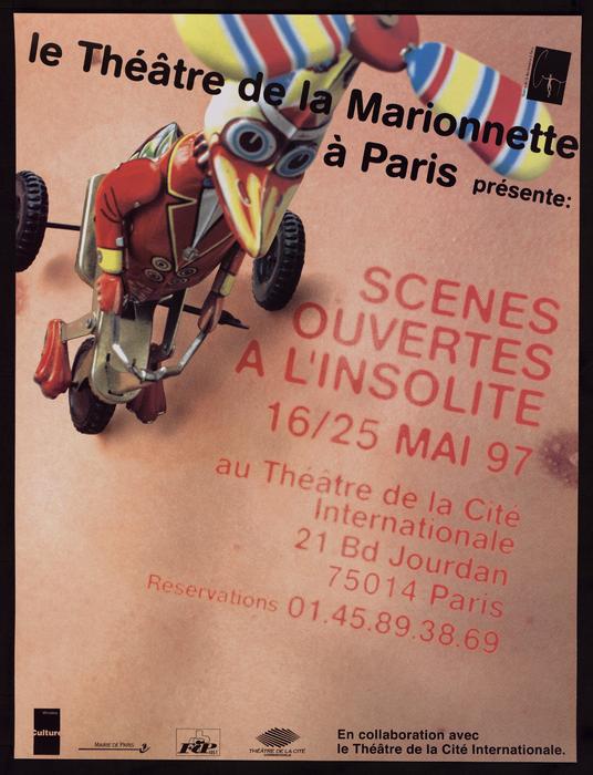 Affiche de la 2e édition des Scènes ouvertes à l'insolite, par le Théâtre de la Marionnette à Paris.