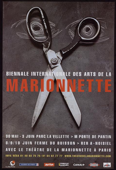 Affiche de la 1ère Biennale Internationale des Arts de la Marionnette (2001)